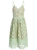 Mint Cami lace Crochet Flower Midi Dress