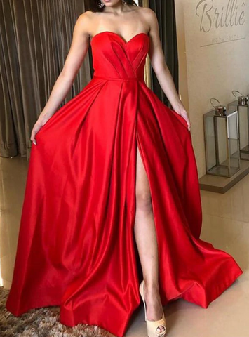 A-Line Red Satin Sweetheart Pleats Prom Dress With Side Split