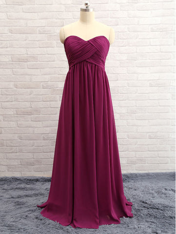 A-line Princess Sweetheart Simple Sleeveless Open-back Prom Dress