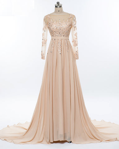 Beading Crystal Formal Long Sleeve Prom Dress