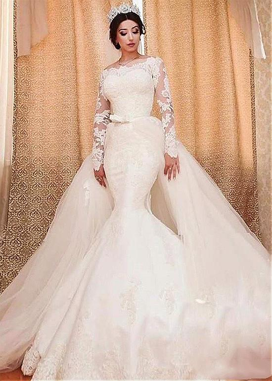 73f8bef0b13 Off-the-shoulder Detachable Skirt 2 In 1 Wedding Dress With Lace Appliques