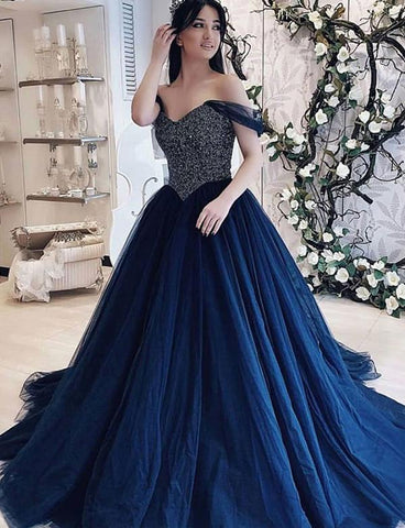 A Line Off The Shoulder Navy Blue Prom Dresses Long With Beading