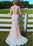 Romantic Tulle Jewel Neckline Sheath / Column Prom Dresses With Lace Appliques & Beadings