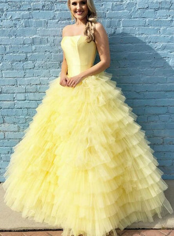 Ball Gown Long Yellow Tiered Floor Length Strapless Prom Dress