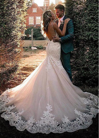Tulle Spaghetti Straps Backless Appliques Mermaid Wedding Dress