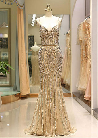 Tulle Spaghetti Straps Gold Long Mermaid Prom Evening Dress