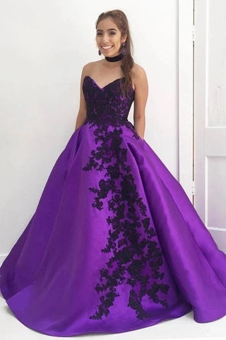 Satin Appliques Purple Sweetheart Prom Dress With Pockets