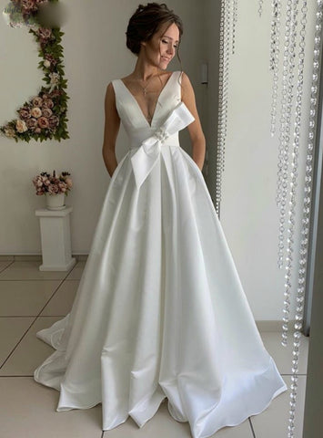 Satin V-neck Backless A-Line White Wedding Dress With Bow