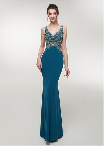 Spandex V-neck Teal Mermaid Evening Dress