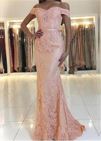 Lace Off-the-shoulder Pink Belt Mermaid Evening Dress