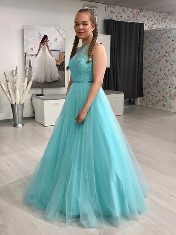 Beading Ball Gown Turquoise Blue Halter Keyhole Back Tulle Prom Dress