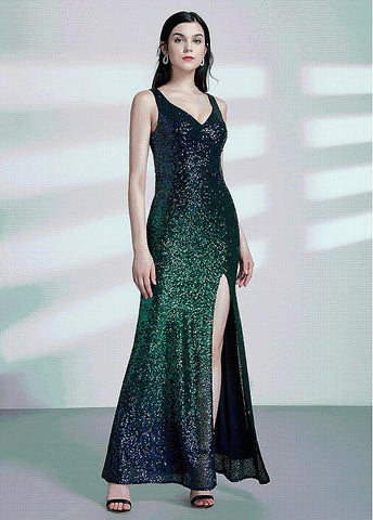 Lavish Sequins Lace V-neck Mermaid Evening Dress