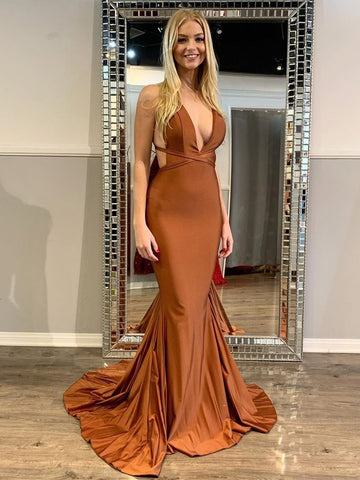 Spandex Backless Coffee Brown Belt Sheath Column Prom Dress