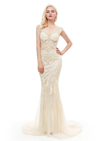 White Tulle Jewel Long Sequins Mermaid Evening Dress