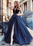 Organza V-neck Blue Long A-line Evening Prom Dress