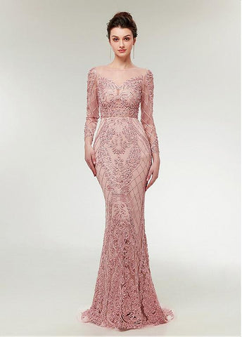 Lace Jewel Long Sleeve Pink Mermaid Evening Dress