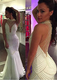 White Mermaid Evening Dresses With Beadings