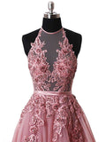 Halter Sleeveless Pink Applique Tulle Prom Dress