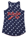 Blue Star Letter Print U Neck Tank Top