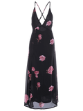 High Cut Plunging Neck Floral Maxi Dress
