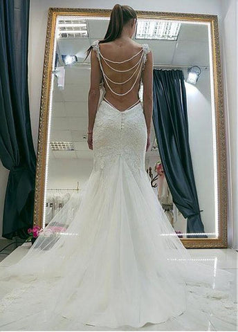 Tulle Sweetheart Neckline Mermaid Wedding Dress With Lace Appliques & Beadings