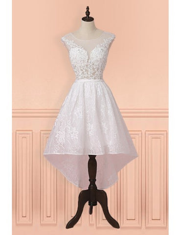 Cap Sleeves High Low White Lace Sheer Short Wedding Dress