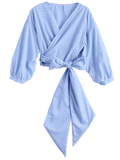 Blue Checked Bowknot Wrap Top