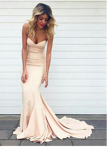 Elegant Acetate Satin Sweetheart Neckline Mermaid Evening Dresses