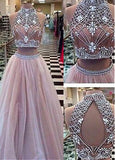 Champagne Two-piece Prom Dresses With Beadings