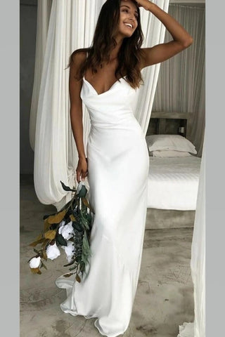 Straps White Simple Satin Cowl Neckline Wedding Dress