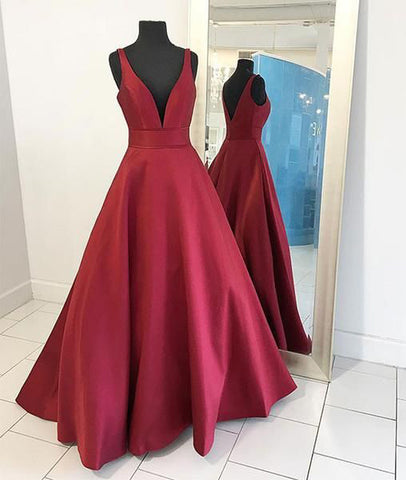 V-neck Burgundy Satin Prom Dress
