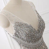 Beading V Neck Mermaid Backless Silver Prom Evening Dresses