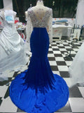 Long Sleeve Round Neck Mermaid Beaded Crystal Court Train Evening Dress