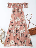 Pink Off Shoulder Shirred Slit Floral Maxi Dress