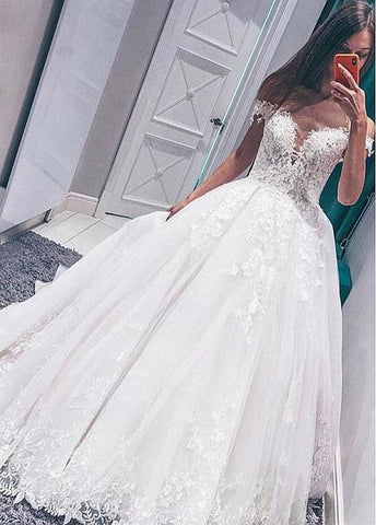 Tulle & Organza Ball Gown Off-the-shoulder Wedding Dresses With Lace Appliques
