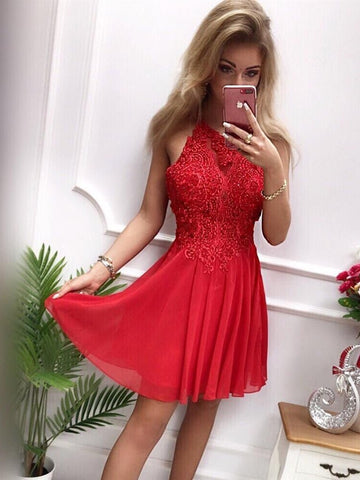 High Neck Chiffon Short Gray/Red Lace Prom Dress