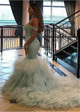 Fashion Beautiful Tulle & Organza Off -the-shoulder Neckline Mermaid Formal Dresses With Beaedings & Ruffles
