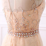 Chic Coral Tulle Scoop Beading Aplliques Evening Prom Dress