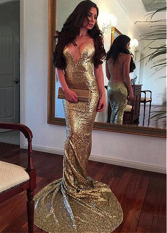 Spaghetti Straps Gold Evening Dresses
