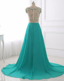 A Line Prom Dresses 2017 Chiffon Evening Dress Illusion Sparkly Beading Bodice