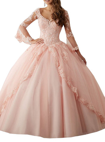 Long Sleeve Lace Quinceanera Dresses Train V-Neck Ball Gown