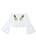 White Off Shoulder Pineapple Embroidered Top