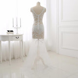 Cutouts White Pearls Crystal V Neck Hollow Prom Dress