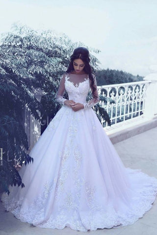 Jewel Long Sleeves Tulle Appliques Bridal Ball Gown Wedding Dress