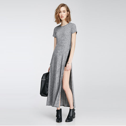 Causal Short Sleeve High Silt Dress
