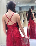 Deep V-neck A-Line Red Tulle Sequins Prom Dress With Side Split