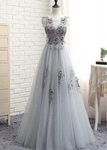 Tulle Jewel 3D Flower Appliques Floor-length A-line Prom Dress