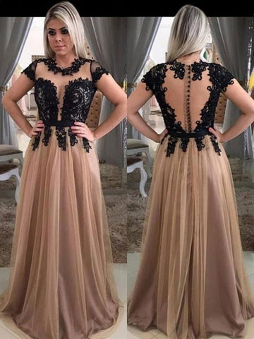 Princess Short Sleeves Scoop Applique Tulle Prom Dress