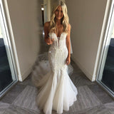 Mermaid Sweetheart Court Train Tulle Wedding Dress with Lace