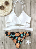 Cute Halter Pineapple Print Wrap Bikini